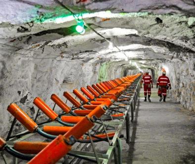 Miners in chrome ore mine